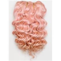 "Pink wavy mohair weft coarse  7-8"" x200""  26456  FP"