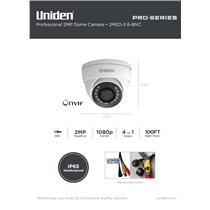 1080p Pro Series 2-MP Coax Security Fixed Eyeball Dome Camera 100' Night Vision
