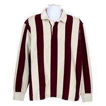 c5bbbd3274f J Crew Men's 1984 Rugby Shirt Charles Vertical Stripe Burgundy/Gray L K4867
