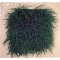 "2"" sq deep kelly green tibetan lambskin no seams 23559"