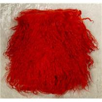 "2"" sq  Rich red  tibetan lambskin no seams 11417"
