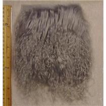 "2 ""sq Silver tibetan lambskin doll hair no seam  23847"