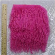 "2"" sq fuschia 2 tibetan lambskin doll hair  seam  23877"