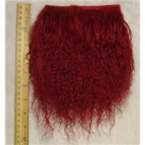 "2"" sq Carmine red tibetan lambskin doll hair  23918"