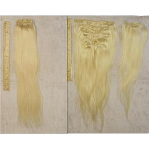 "blonde #613 silky human hair clip in 18""x50g 23990 B HP"