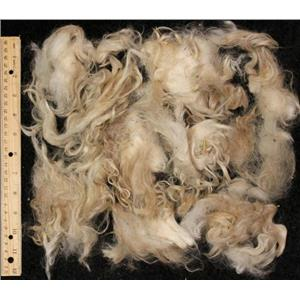 "Mohair raw white locks 2 oz  3-5""   25051"