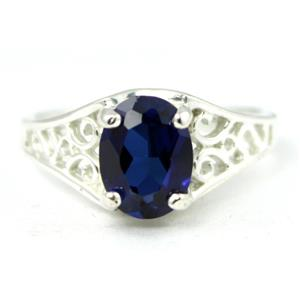 Created Blue Sapphire, 925 Sterling Silver Ring, SR005
