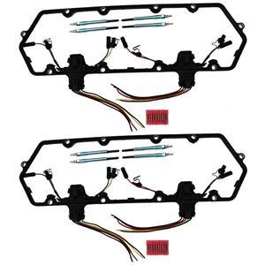 Austekk - K-6584-AOCx2 - Diesel Glow Plug Kit - Gaskets Harnesses 8 Plugs Pigtails