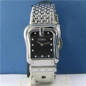 Fendi F386110D B. Fendi Black Diamond Dial Steel Ladies Watch NWT $1150