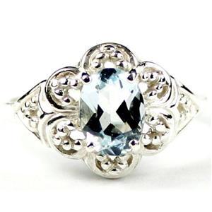 SR125, Aquamarine, 925 Sterling Silver Ring