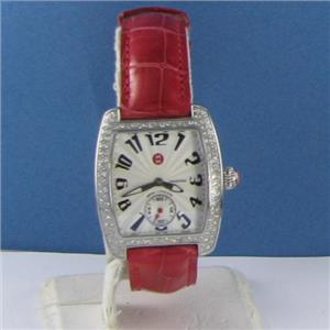 Michele Mini Urban Steel Diamond Red Alligator Strap Watch MWW02A000005 $1895