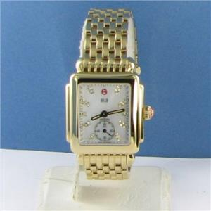 Michele Deco 16 Yellow Gold Tone DIamond MOP Dial Watch MWW06V000004 NWOT $1545