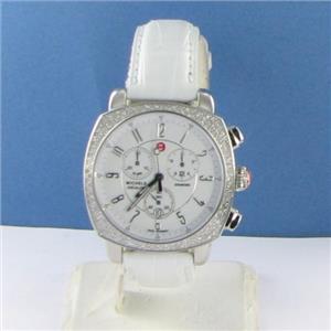 Michele Ascalon Chronograph Diamond Bezel White Dial Watch MW18A01A1001 $2045