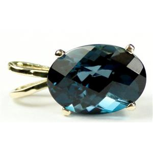 P004, London Blue Topaz 14K Gold Pendant