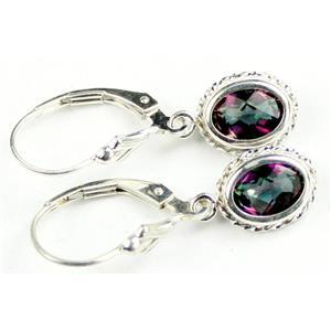 SE006, Mystic Fire Topaz, 925 Sterling Silver Rope Earrings