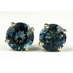 E112, London Blue Topaz, 14k Gold Earrings