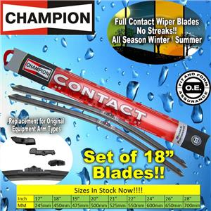 "NEW (2) Pair Champion Full Contact 18"" Inch All Season Windshield Wiper Blade"