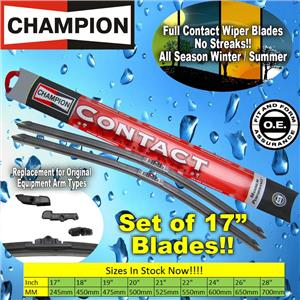 "NEW (2) Pair Champion Full Contact 17"" Inch All Season Windshield Wiper Blade"