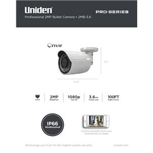 1080p Pro Series 2.0-Megapixel IP Security Fixed Bullet Camera 100' Night Vision