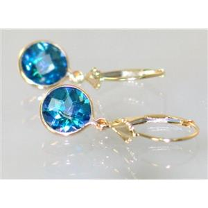 E111, Neptune Garden Topaz,14k Gold Earrings