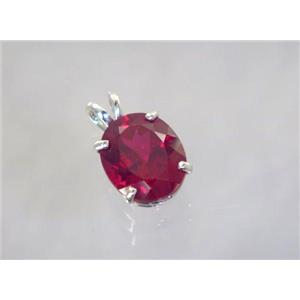 SP040, Created Ruby 925 Sterling Silver Pendant