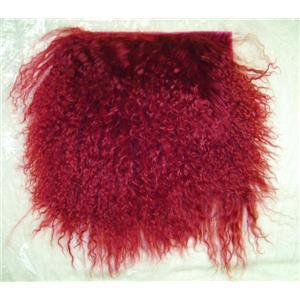 "2"" sq wine  tibetan lambskin doll hair no seam 22745"