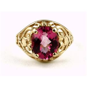 R004, Pure Pink Topaz, Gold Ring