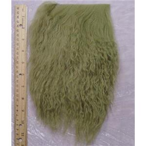 "5 1/2""sq Avacado green tibetan lambskin wig 23712"