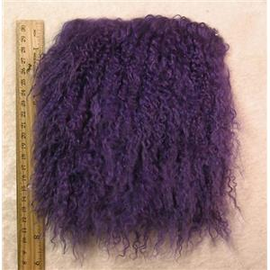"2"" sq Violet tibetan lambskin seam  thinner 3-5"" hair  seam  25033"