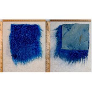 "5 1/2 ""sq Cobalt blue  tibetan lambskin wig several seams remnant  24979"