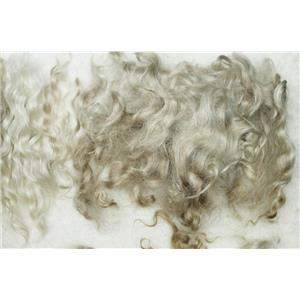 """Mohair washed adult Natural white with faded red curls 3-6"""" 1 oz 26210"""