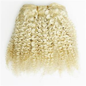 """Blonde 613  bebe curl - tight curl - mohair weft coarse 7-8"""" x100"""" 26439 HP"""