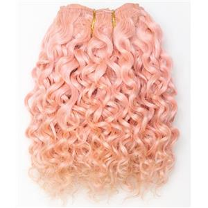 "Pink curly mohair weft coarse  7-8"" x200""  26465  FP"