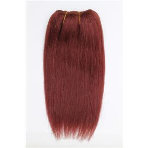 "Dark auburn red 33 straight mohair weft coarse  7-8"" x200""  26601  FP"