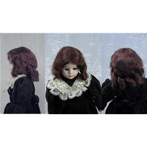"Mohair Wig sausage curls hand sewn  brown sz 8 ""  11678"