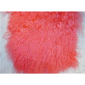 "2"" sq Medium pink 3 tibetan lambskin wig no seams 11755"