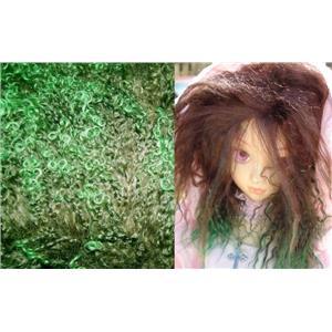 "2"" sq green tipped brown tibetan lambskin no seam 11524"