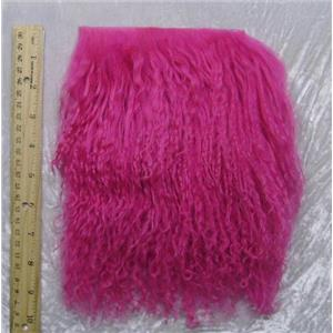 "2"" sq fuschia 2 tibetan lambskin doll hair no seam 23876"