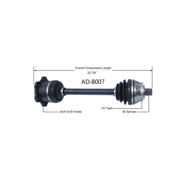 A4 S4 Passat Passengers Side Automatic AD-8007 CV-joint Axle Shaft Ck Below