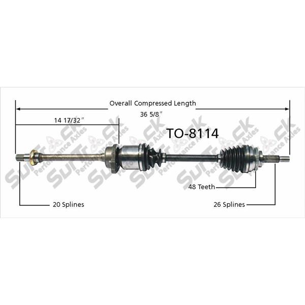 CV Axle Shaft-New Front R TO-8114 P/S 03-06 Vibe 1.8L With