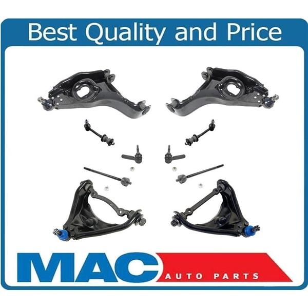 00-03 Durango 00-04 Dakota 2WD Upper Control Arms Sway Bars and Tie Rods 10Pc Kt