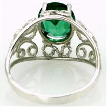SR162, Russian Nanocrystal Emerald, 925 Sterling Silver Ring