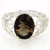 SR162, Smoky Quartz, 925 Sterling Silver Ring