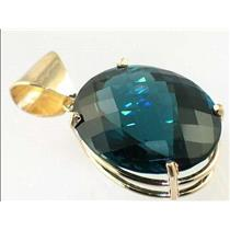P082, London Blue Topaz 14K Gold Pendant