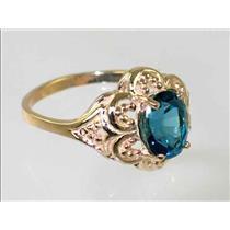 R125, London Blue Topaz Filigree, Gold Ring