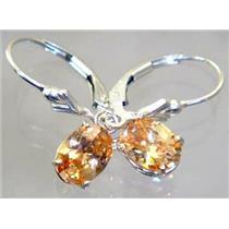 Champagne CZ, 925 Sterling Silver Earrings, SE007