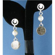 Montblanc 101514 Star Collection Sterling Silver Pearl Dangle Earrings