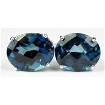 London Blue Topaz, 925 Sterling Silver Earrings, SE102