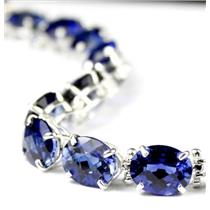 SB003, Created Blue Sapphire, 925 Sterling Silver Bracelet