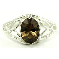 SR137, Smoky Quartz, 925 Sterling Silver Ring